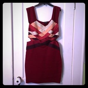 *SOLD* Wow Couture Red Woven Bandage Dress